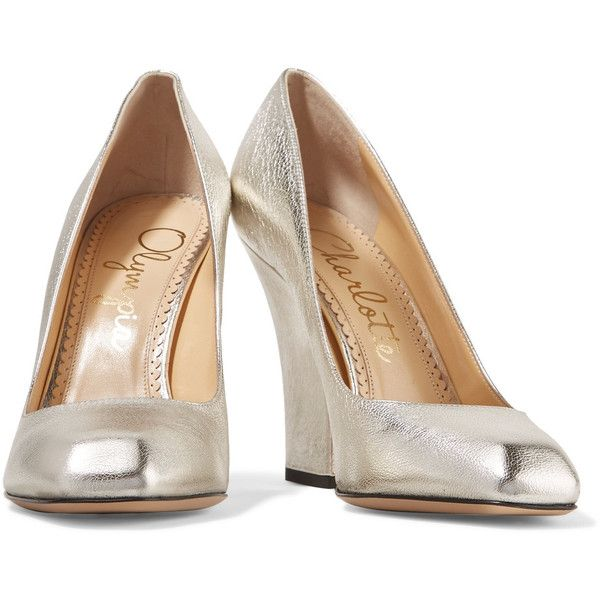Charlotte Olympia - Milla Metallic Leather Pumps ($258) via Polyvore featuring shoes, pumps, retro shoes, retro pumps, metallic pumps, high heel shoes and high heel platform pumps