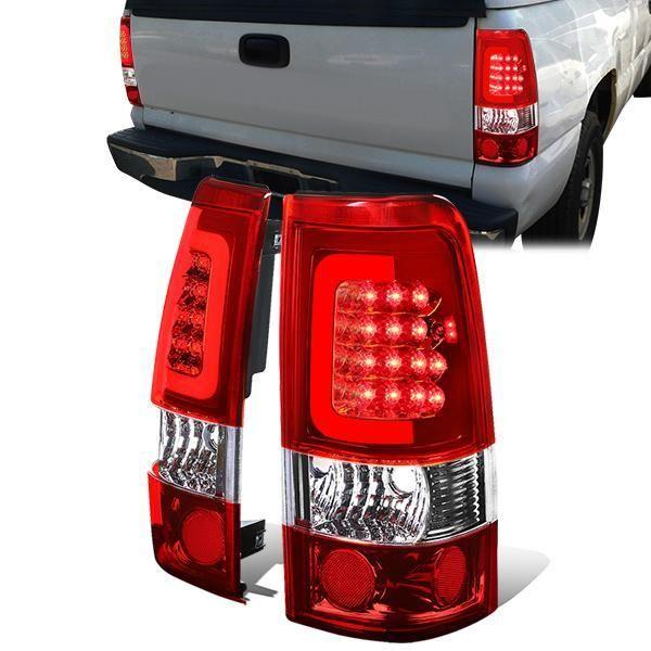 99 03 Chevy Silverado Gmc Sierra 1500 2500 3500 Red C Bar Led Tail Lights Chevy Silverado Tail Light Gmc Sierra 1500