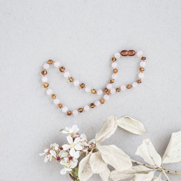 ROSE QUARTZ AND AMBER TEETHING NECKLACE // SUMMER AND STORM