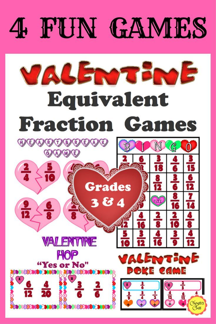 Your students will love these 4 Equivalent Fraction Valentine Games as they practice finding, recognizing, and matching 23 different equal fractions. Each game has everything you need to create 4 Centers/Stations. They are excellent activities for the week of Valentine's Day.  Great for Grades 3-5.  CCSS aligned for Grades 3 and 4. $ #ValentineMathfor Kids #ValentineEquivalentFractions