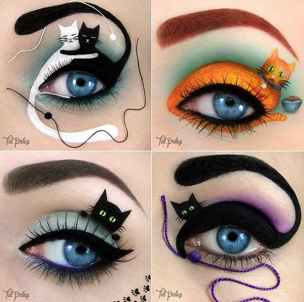 """Cat Eyes"" Takes On a Whole New Meaning Tal Peleg creates what may be the best eye makeup design we've seen for cat lovers."