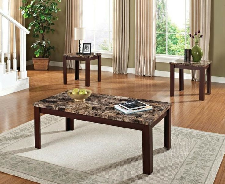 Marble Brown 3PC Living Room Table Set | Famsa | Catálogo en Línea de Electrónicos, Muebles, Computadoras, Minisplits, Línea Blanca y Más