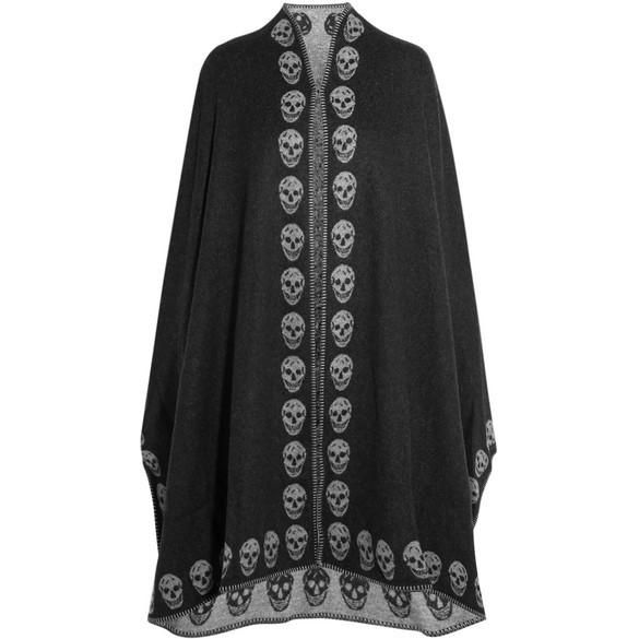 Alexander McQueen Reversible Intarsia Cashmere Cape as seen on Nina Dobrev