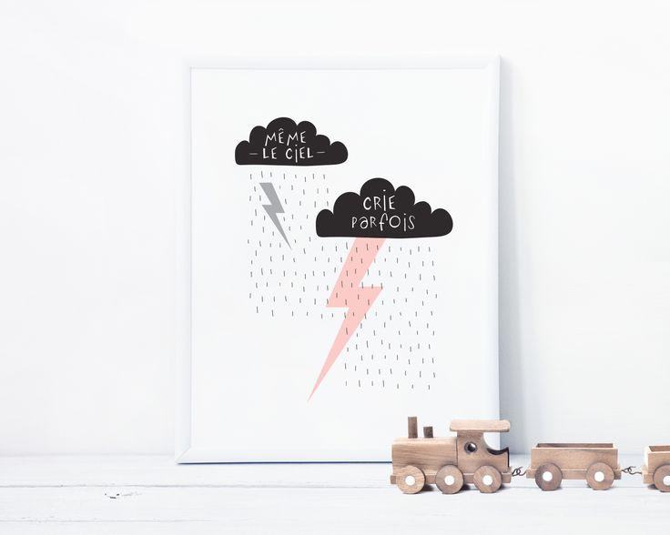 Des couleurs pastels composée de petits nuages et saupoudrés de délicieux motifs graphiques, cette affiche de Mag & Jack permet de mettre un peu de poésie dans votre quotidien et d'ajouter une touche ludique à vos murs.