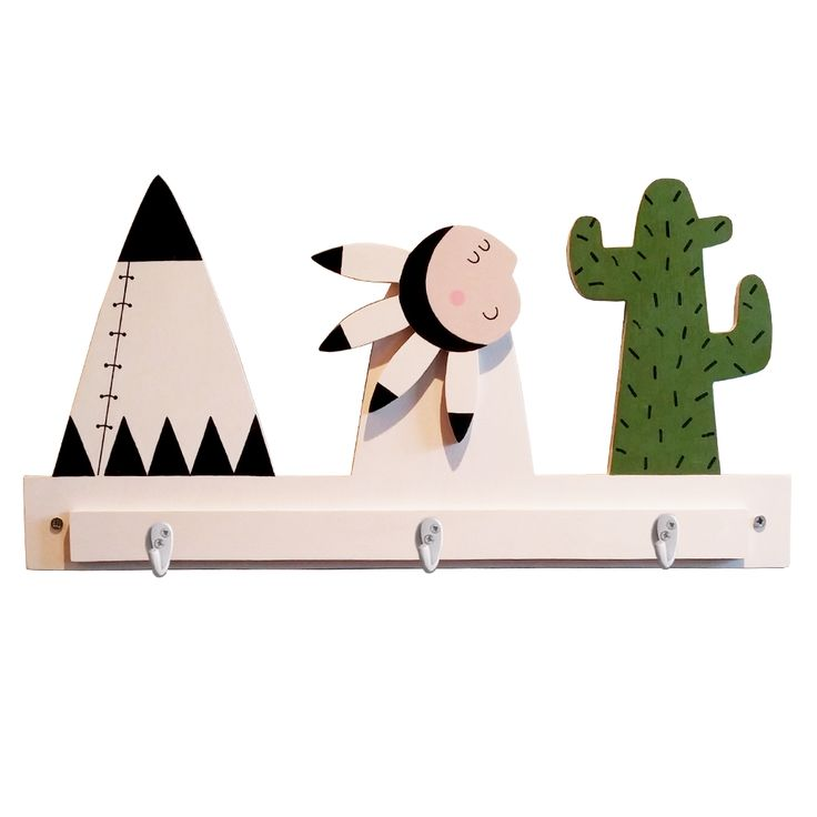 These eco-friendly  native American scene hooks will add a touch of fun to any child's bedroom decor.   Made of 9 mm birch plywood responsibly sourced, the set comes with 3 single robe hooks and screws directly unto the wall.  DIMENSIONS:  (W) 50cm x (H) 25cm