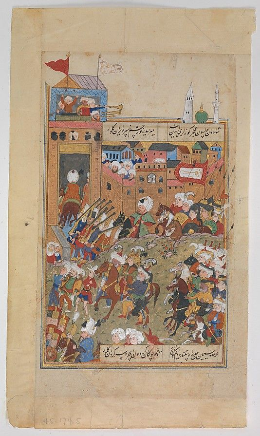 """Ottoman Army Entering a City"", Folio from a Divan of Mahmud `Abd al-Baqi Mahmud 'Abd-al Baqi (1526–1600)"