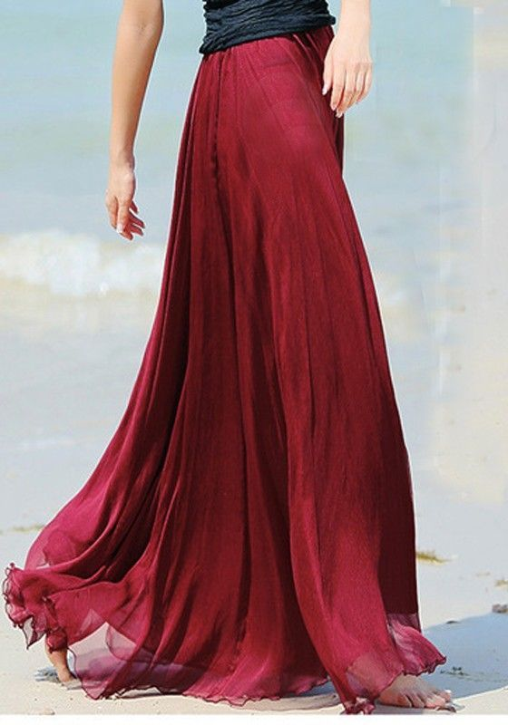 Wine Red Plain Draped Wavy Edge Pleated Elastic Waist Floor Length Bohemian Chiffon Skirt