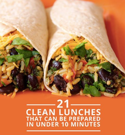 Eat clean for lunch!  Save these 21 Clean Lunches That Can Be Prepare in Under 10 Minutes.