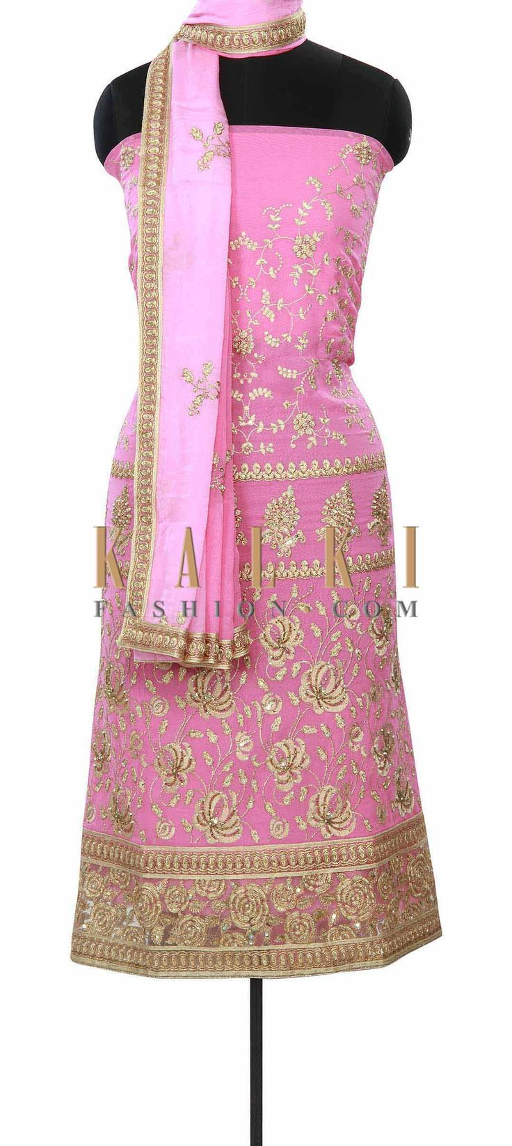 Buy Online from the link below. We ship worldwide (Free Shipping over US$100) Price- $99 Click Anywhere to Tag http://www.kalkifashion.com/pink-unstitched-suit-enhanced-in-resham-and-sequin-embroidery-only-on-kalki.html