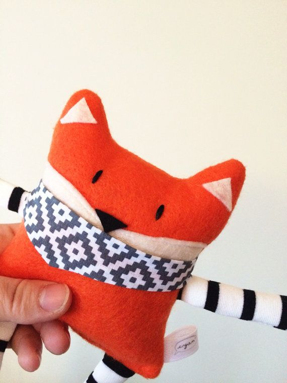 Scented Rice-Filled Fox Plush /Felt SmallToy / Fox Stuffed Animal
