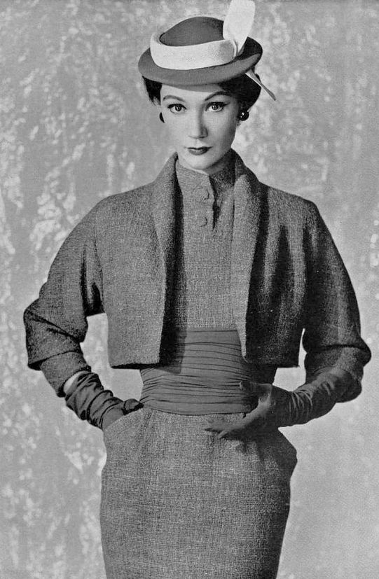 1953 Sophie Malgat in lace tweed dress with short bolero jacket by Pierre Balmain, photo by Seeberger