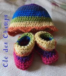 Chapeau et bottines au crochet