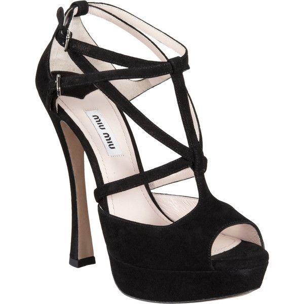 Miu Miu Strappy Peep Toe Platform Sandal ($790) ❤ liked on Polyvore