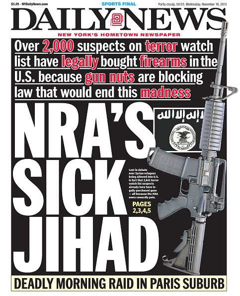 'Nowhere to Hide': New York Daily News Shocks With Front Page Cover Featuring NRA's Wayne LaPierre - http://www.theblaze.com/stories/2015/11/23/new-york-daily-news-depicts-nra-as-jihadist-on-mondays-front-page/?utm_source=TheBlaze.com&utm_medium=rss&utm_campaign=story&utm_content=new-york-daily-news-depicts-nra-as-jihadist-on-mondays-front-page