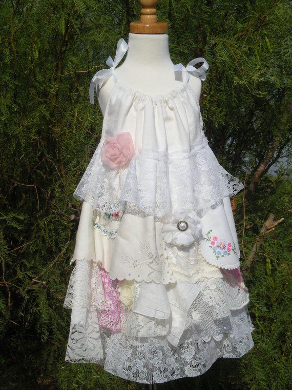 Little Girl's Vintage Ruffles Boho Shabby Chic Lace
