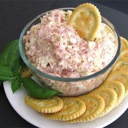 Whip up a quick and easy ham salad spread with hard-cooked eggs, mayonnaise, and pickle relish. Serve with assorted crackers.