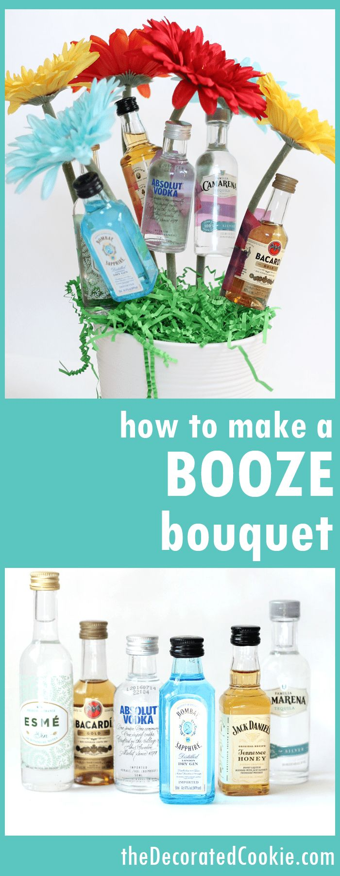 booze bouquet gift idea -- Mother's Day, birthday, housewarming, bridal shower, hostess gift and more! (video how-tos)