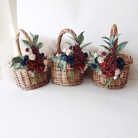 rustic basket wicker basket small baskets Flower girl basket burgundy baskets twig basket basket with flowers