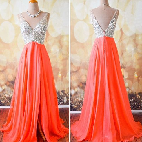 Front Split V-neck Prom Dresses For Teens.2017 Backless Long Evening Dresses,Simple Beaded Prom Dress,Modest Prom Gowns