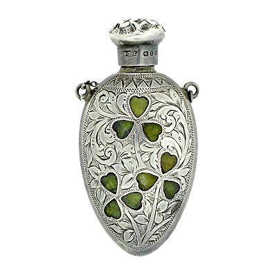 1880 parfum bottle. Sterl silver and inlaid agate.