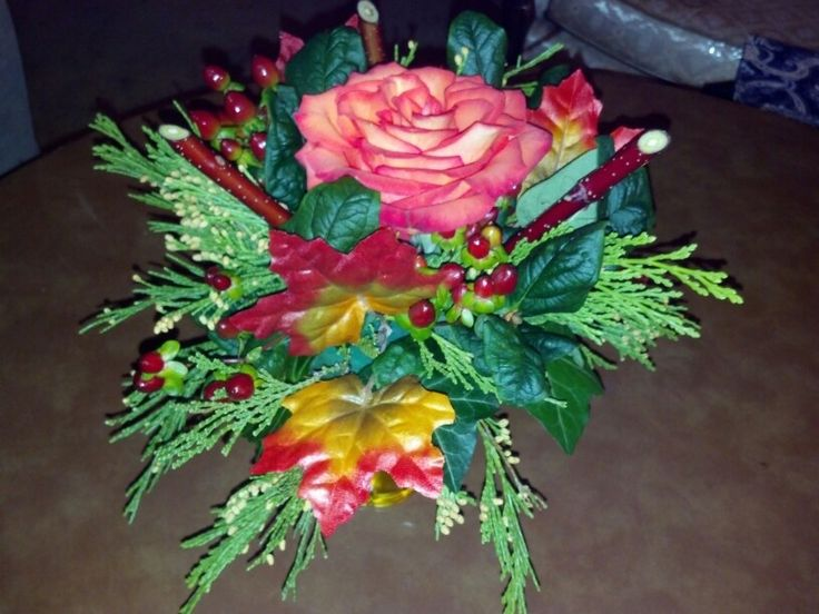 Lovely rose with reuse of rose stems in arrangement by Flowers and Fascinations, Angela Mabin, Designer
