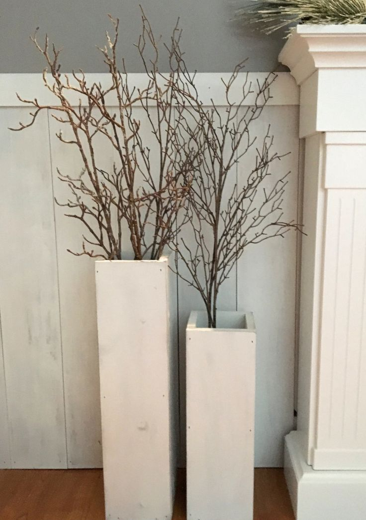 white wooden  vases, reclaimed wood, distressed wood, floor vases, set of two, farmhouse decor, large floor vase, rustic decor, porch decor by TheWoodenOwl on Etsy https://www.etsy.com/listing/281489396/white-wooden-vases-reclaimed-wood
