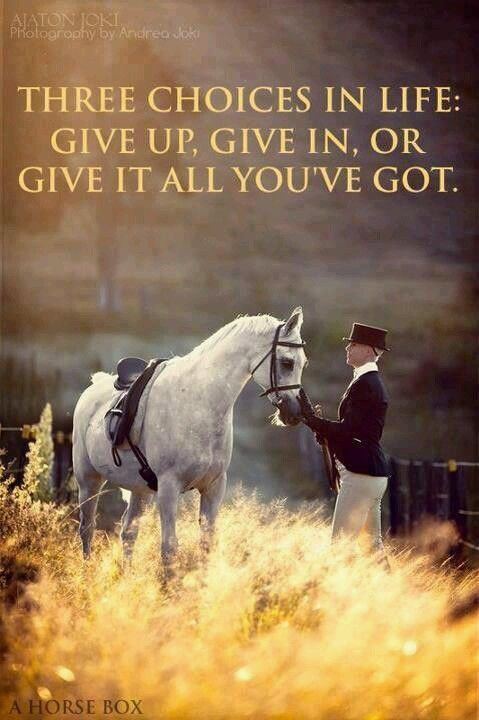 Three choices in life: give up, give in, or give it all you've got.