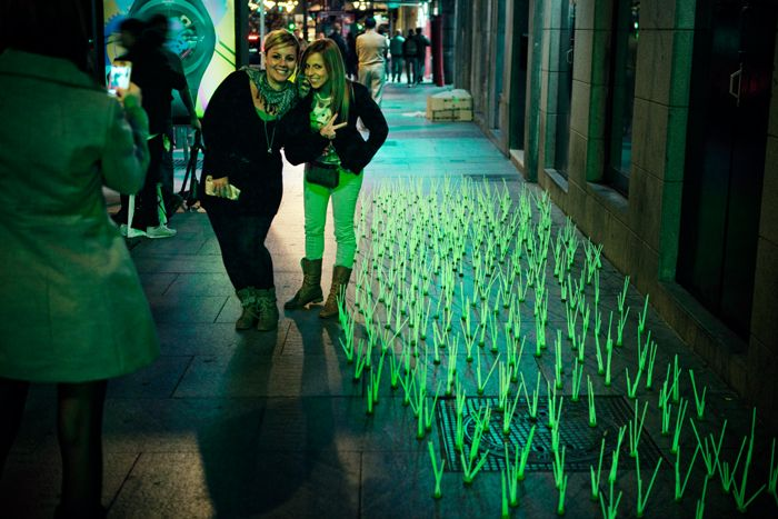 Luminous Herb - Madrid (street art protest against stores leaving their lights open)