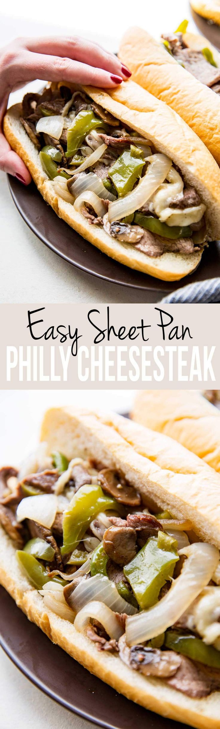 We are these so fast. So easy. So good. Philly Cheesesteak made on a sheet pan