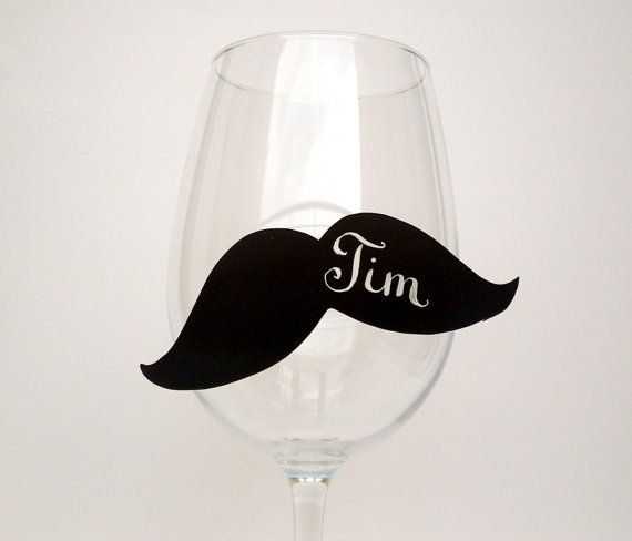 want these sooo bad for a future party!!! boyfriends name is tim which makes me want em even more! 20 Place Cards Mustache Wine Glass Decor Original by MamaTita, $25.00