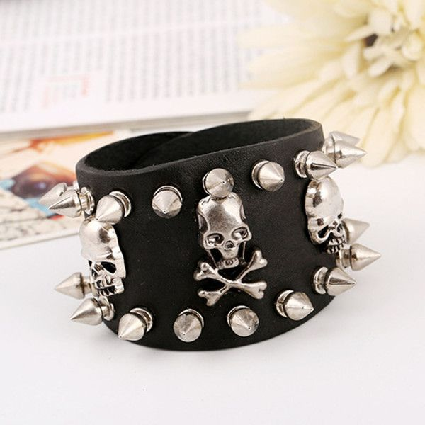 steampunk leather bracelet with a skulls and spikes gothic punk... ($25) ❤ liked on Polyvore featuring jewelry, bracelets, rock jewelry, skull jewelry, leather jewelry, steampunk jewellery and metal jewelry