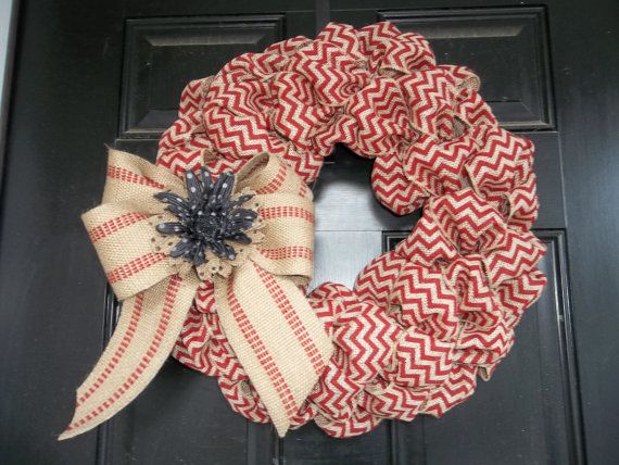 "New 18"" Brick Red Chevron Burlap Wreath/webbing bow and burlap flower - LOVE!"
