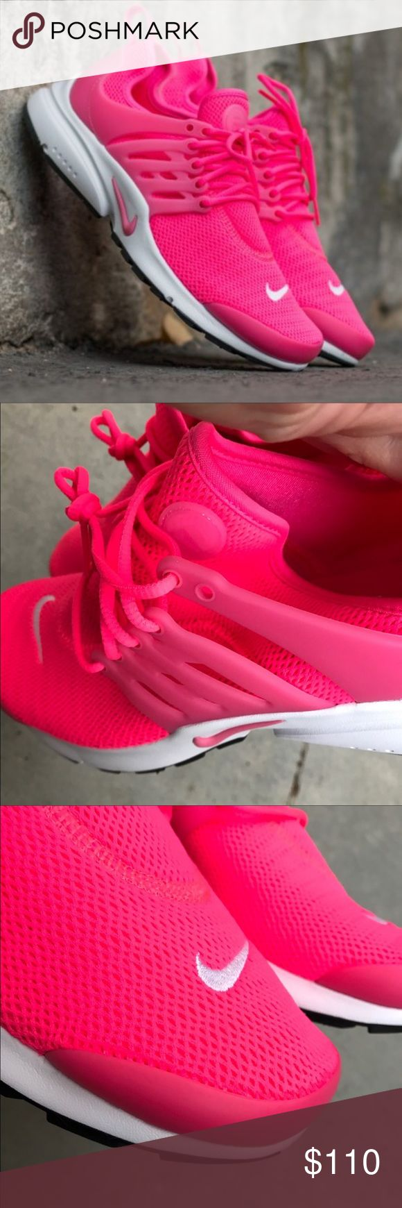 NWB 💕 NIKE AIR PRESTO WOMENS SIZES New, never worn Nike AIR PRESTO WOMENS SIZES 😍 HYPER PINK MESH! THIS SHOE IS 'IT' FOR FASHION, FUNCTION & most importantly COMFORT! 🎁 this item ships in original NIKE BOX. (I also have a size 10 listed without box at a discount)  NO OFFERS. THESE ARE FULL RETAIL AT ALL STORES INCLUDING NIKE...YOU DO NOT PAY SALES TAX ON POSH. 🤑 Bundle to save 👣   Ships same or next day from my smoke free home.  PRICE IS FIRM ⚡️100% authentic Nike product purchased…