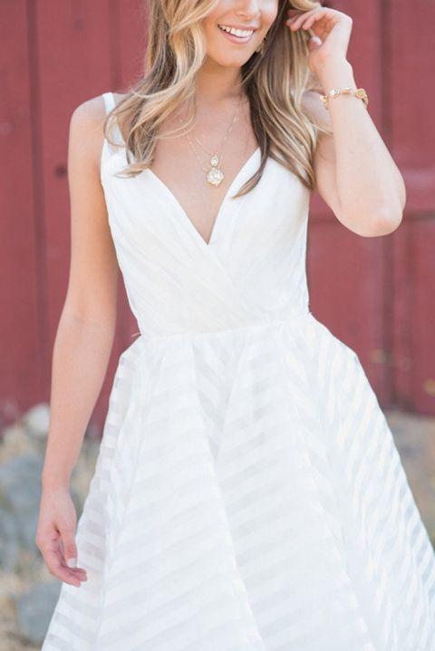 V-Neck Striped Wedding Dress by Hayley Paige | Rahel Menig Photography | http://heyweddinglady.com/styling-decklyn-hayley-paige/ 