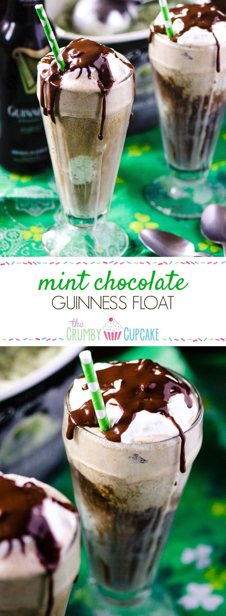 Mint Chocolate Guinness Float | Tired of the same old pint of Guinness? Kick it up Leprechaun style! Add a scoop of mint chocolate chip ice cream, a dollop of Irish cream whipped cream, and a drizzle of chocolate for a fun and festive float. @crumbycupcake