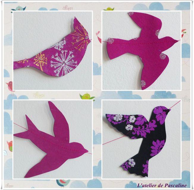 Guirlande d'oiseaux en jolis papiers découpés