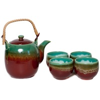 Japanese green and rust raku teaset
