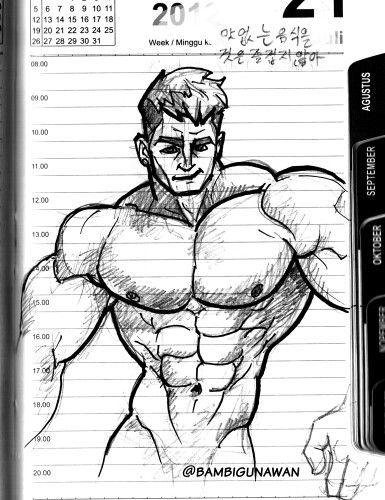 #masbambi drawing practice with #silverjowart reference, #muscles #bigmuscle #male #blackandwhite #bw #sketsahitamputih #gambar #cartoon #caricature #disneystyles #pixarstyle #doodles #doodle #doodling #sketsa #sketch #maleart #pencildrawing #ink #sexymales #sixpacks #sixpack #abs #fitmen