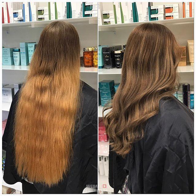 Vilken skillnad! Här jobbar vi med både ljusa och mörka slingor för att få mer liv i håret samt få bort alla orangea toner. 👌🏼#michaelofrisorerna #welovemichaelofrisorerna #makeover