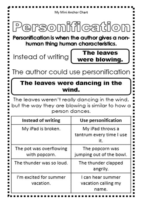 Personification Mini Anchor Chart - Use these mini anchor charts in your students' reading and writing journals to help them understand and use figurative language!
