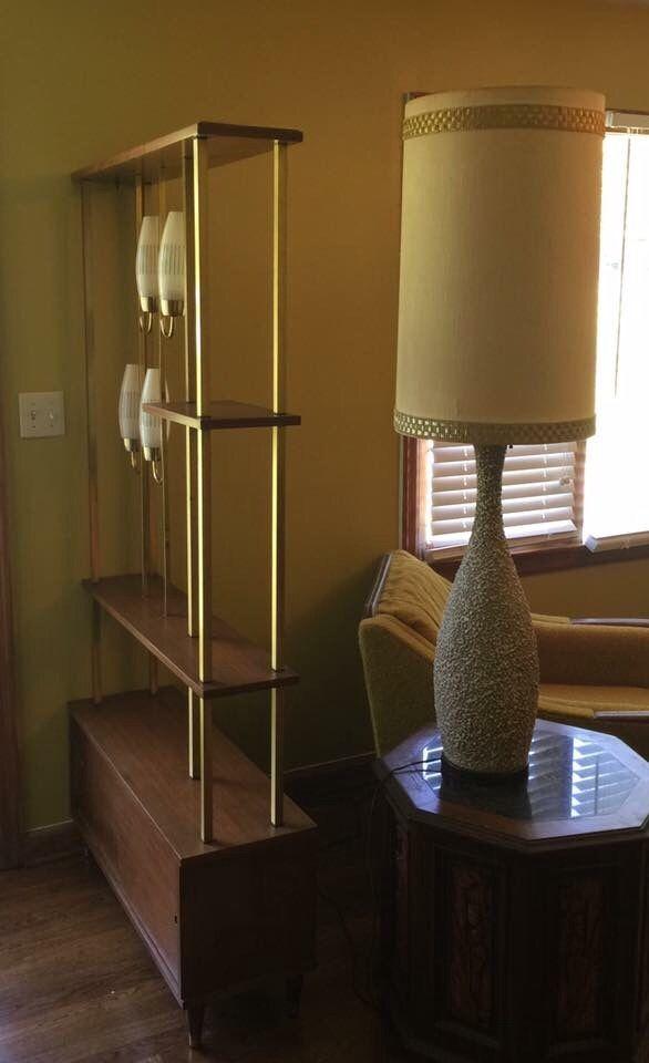 Vintage Room Dividing Shelf With Lights Mid Century Room