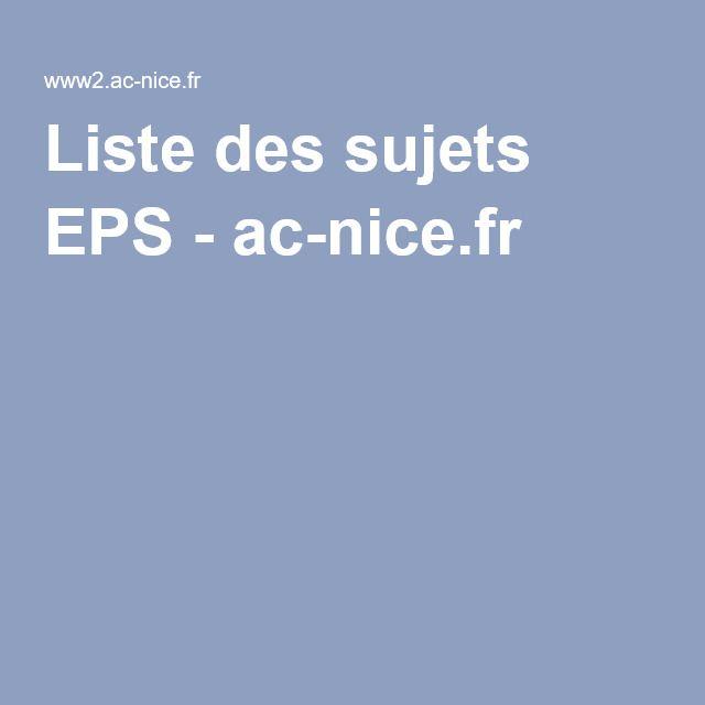 Liste des sujets EPS - ac-nice.fr