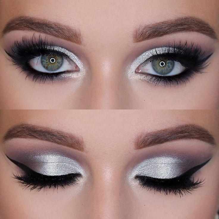 11 Maquillaje ahumado negro y plateado