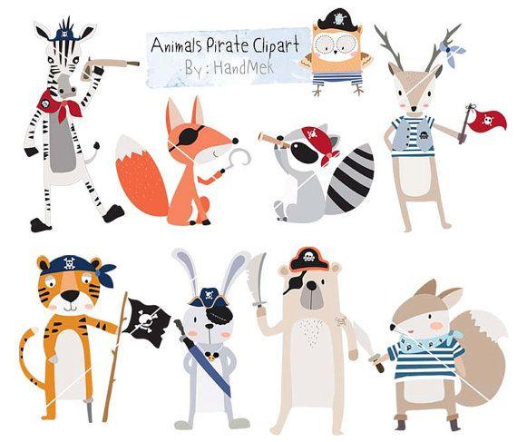 Animales pirata Imágenes Prediseñadas, imágenes prediseñadas de animales lindos, pirate clip art archivo PNG descargar instantánea - 300 dpi