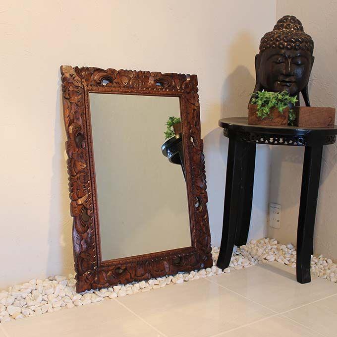 壁掛け 鏡 ミラー ウォールミラー 木製 バリ彫刻 80×60 アジアン エスニック バリ島 インテリア