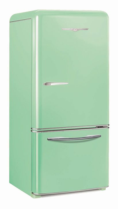 Geladeira verde menta de 1952, linda! #green #vintage #cozinharetro