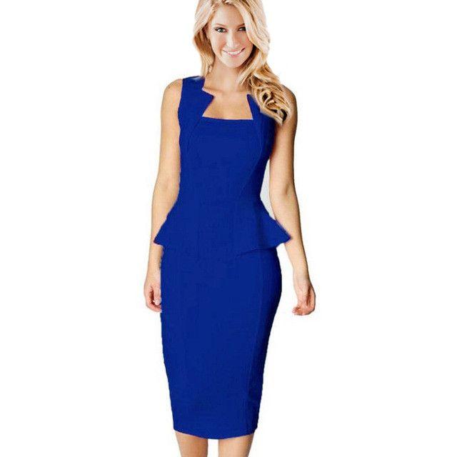 Gamiss Fashion Style Dress Women New Style Square Neckline Sleeveless Dress Bodycon Peplum Dress Hot Sexy Office Lady Dress