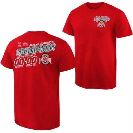 Ohio State Buckeyes Scarlet 2015 Sugar Bowl Champions Quick Score T-Shirt