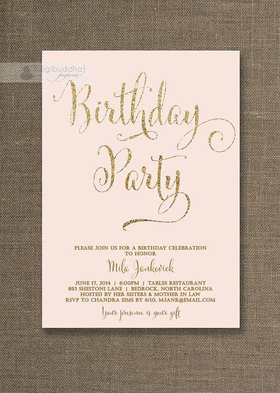 Blush Pink & Gold Birthday Invitation Gold Glitter Pastel Pink Script Modern Milestone Shabby Chic 21st Printable Digital or Printed - Mila