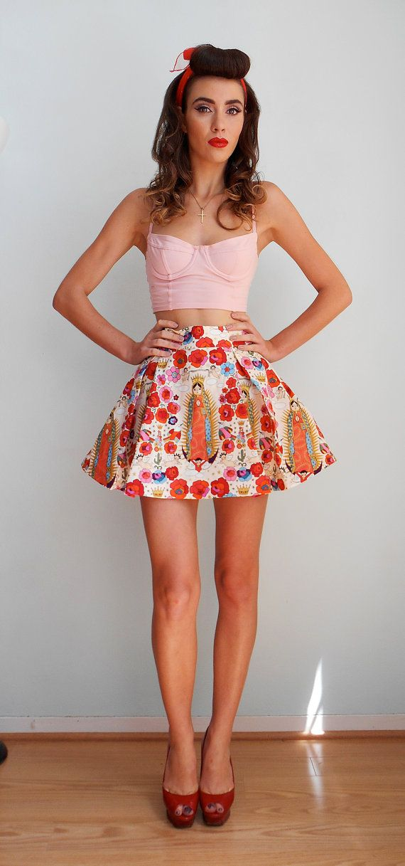 La Virgencita - Alexander Henry fabric pleated skirt day of the dead - HANDMADE - More colors available